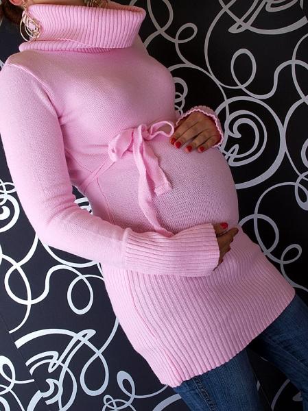 Tehotenská roláková tunika s opaskom -  sv. ružová