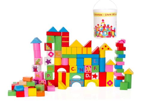 Farebné drevené kocky v vedre - 100 kusov