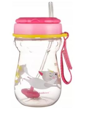 Canpol babies Hrnček športový so slamkou a závažím 350 ml, mačička - ružová