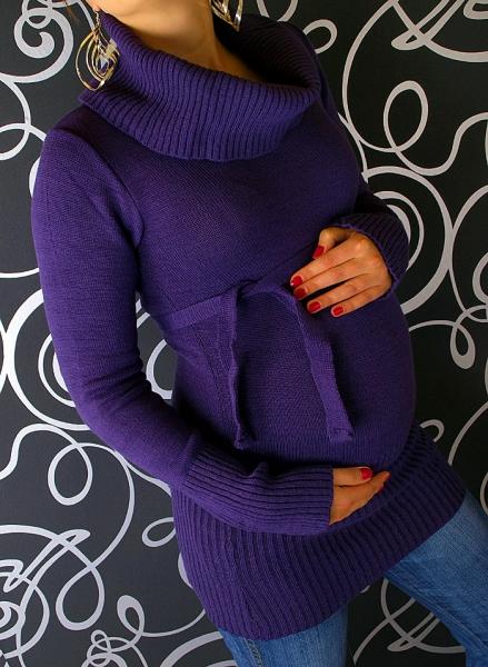 Tehotenská rolákové tunika s opaskom - fialová