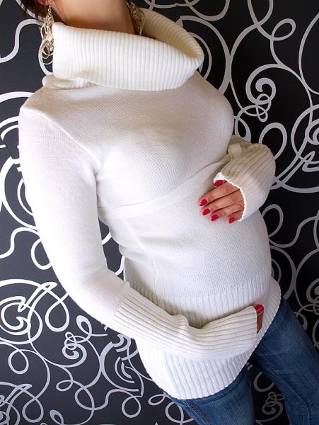 Be MaaMaa Tehotenská rolákové tunika s opaskom - biela