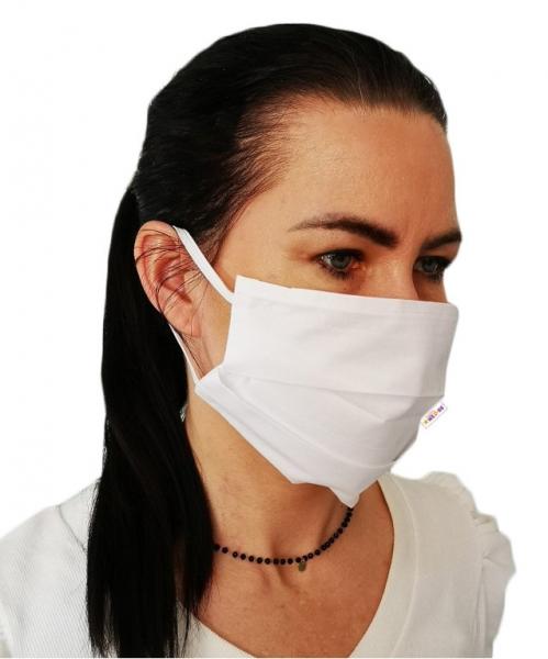 Bavlnená rúška, dvojvrstvová s vreckom na filter na gumku  - biela