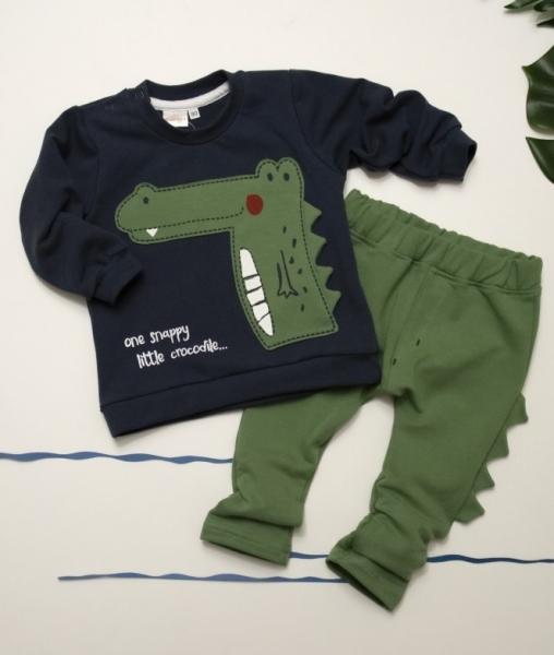 K-Baby Sada mikinka + tepláčky,  Krokodýl - tm. modrá,zelená, veľ. 9