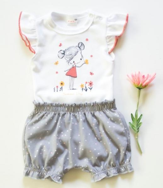 K-Baby 2 dielna detská súprava, body s kraťasky Girl, veľ. 74 - šedá-#Velikost koj. oblečení;74 (6-9m)