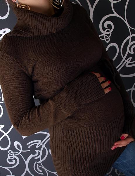 Tehotenská rolákové tunika s opaskom - hnedá