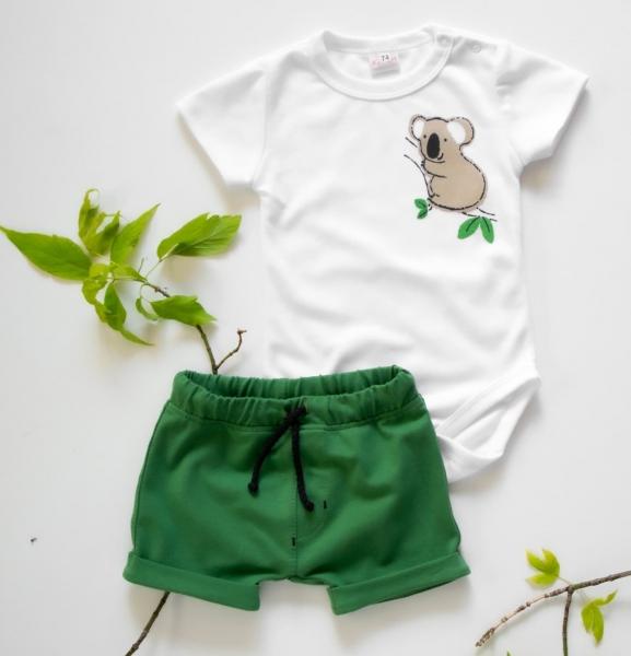 K-Baby 2 dielna detská súprava, body s kraťasky Boy Koala - zelená