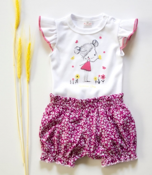 K-Baby 2 dielna detská súprava, body s kraťasky Girl - fuchsie