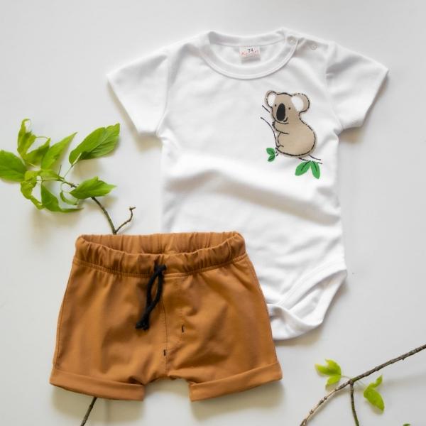 K-Baby 2 dielna detská súprava, body s kraťasky Boy Koala, veľ. 68 - horčicová-68 (4-6m)
