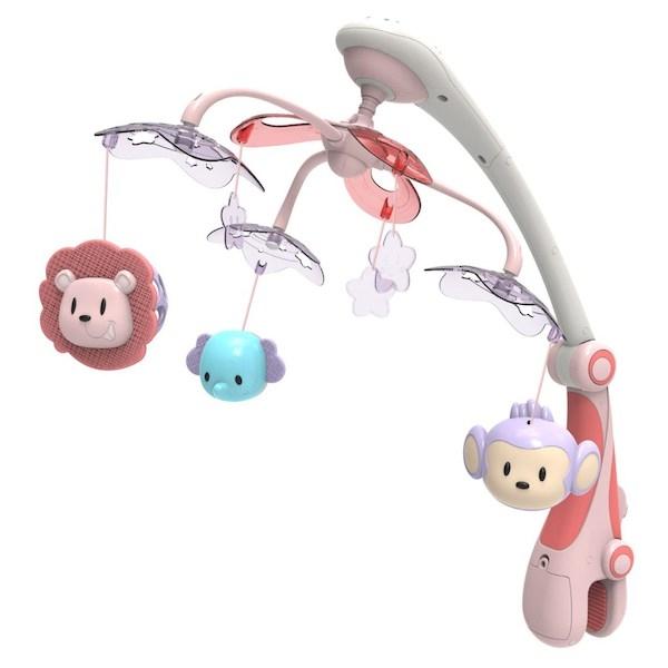 Kolotoč nad postieľku so svetelným projektorom Baby Mix safari, Ružová