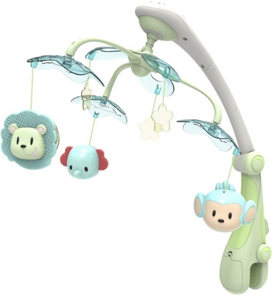 Kolotoč nad postieľku so svetelným projektorom Baby Mix safari, green