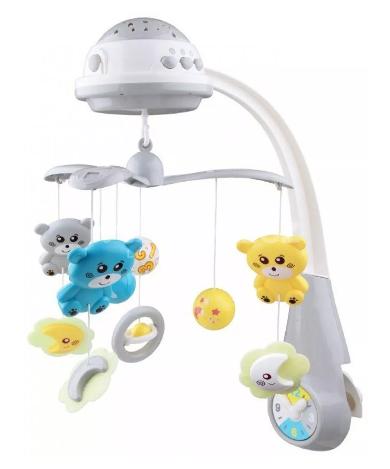 Kolotoč nad postieľku so svetelným projektorom Baby Mix medvedíky, sivé