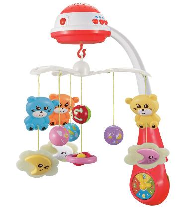 Kolotoč nad postieľku so svetelným projektorom Baby Mix medvedíky,červené