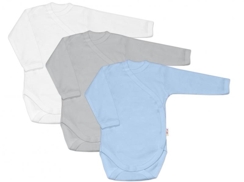 Baby Nellys Dojčenská chlapčenská sada body zap. bokom BASIC - modrá,šedá,biela - 3 ks, veľ. 62
