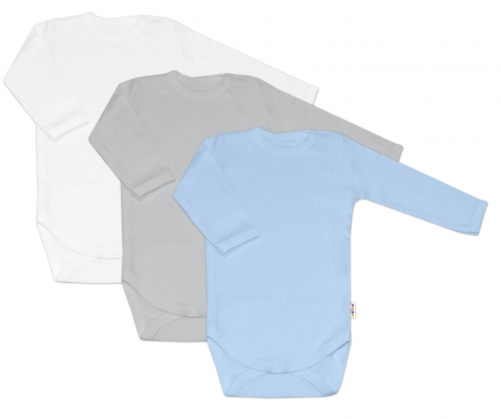 Baby Nellys Dojčenská chlapčenská sada body BASIC - modrá,šedá,biela - 3 ks, veľ. 68