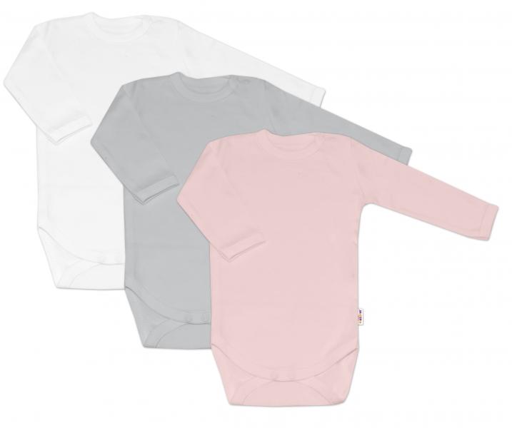 Baby Nellys Dojčenská dievčenská sada body BASIC - ružová,šedá,biela - 3 ks, veľ. 68