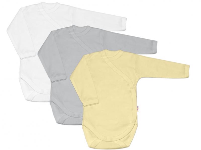 Baby Nellys Dojčenská neutr. sada body zap. bokom BASIC - žltá, šedá, biela - 3 ks, 56