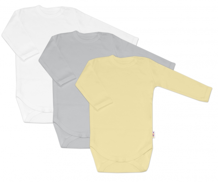 Baby Nellys Dojčenská neutr. sada body BASIC - žltá, šedá, biela - 3 ks, 68-68 (4-6m)