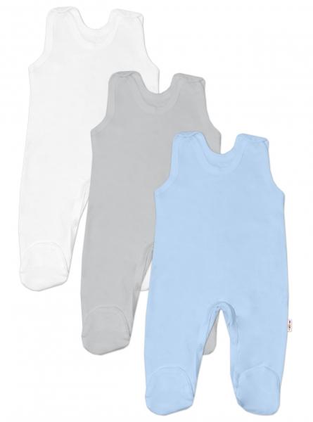 Baby Nellys Dojčenská chlapčenská sada dupačiek BASIC - modrá, šedá, biela - 3 ks, veľ. 56