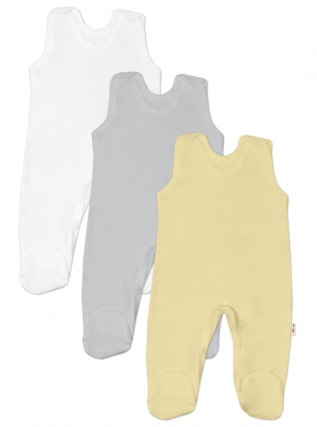 Baby Nellys Dojčenská neutrálna sada dupačiek BASIC - žltá, šedá, biela - 3 ks, veľ. 62-62 (2-3m)