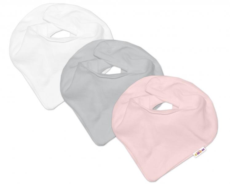 Baby Nellys Dojčenská dieučenská sada šiatků na krk  BASIC - růžová, sivá, biela - 3 ks-univerzální