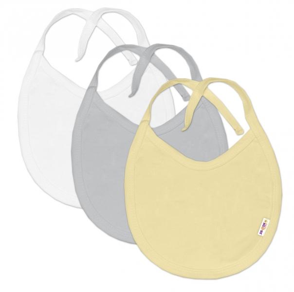 Baby Nellys Dojčenská neutrálne sada podbradníkov  BASIC - žltá, sivá, biela - 3 ks