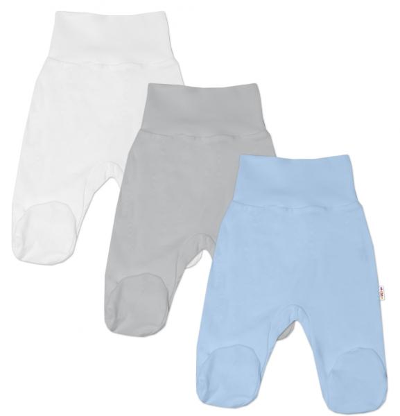 Baby Nellys Dojčenská chlapčenská sada polodupačiek BASIC - modrá, šedá, biela - 3 ks