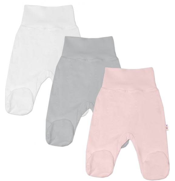 Baby Nellys Dojčenská dievčens. sada polodupačiek BASIC - růžová, šedá, biela - 3 ks, 68