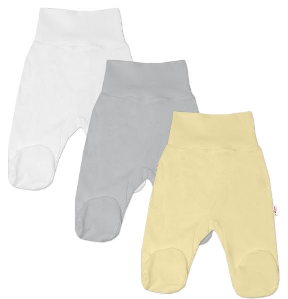 Baby Nellys Dojčenská nieutr. sada polodupačiek BASIC - žltá, šedá, biela - 3 ks, veľ. 68-68 (4-6m)
