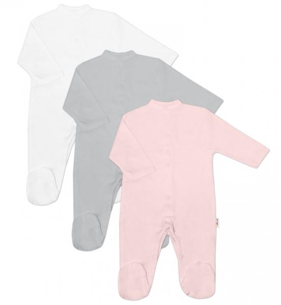 Baby Nellys Dojčenská dievčenská sada Overalu BASIC-ružová, sivá, biela - 3 ks, veľ. 56