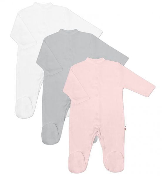 Baby Nellys Dojčenská dieučenská sada Overalu BASIC-růžová, sivá, biela - 3 ks, veľ. 62