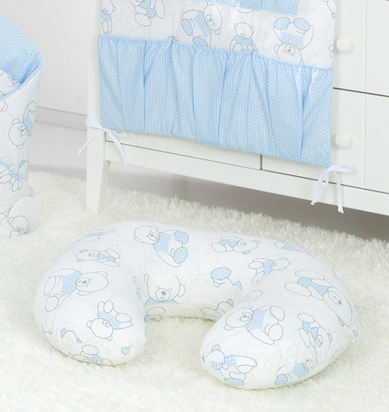 Mamo Tato Dojčiace vankúš - Medvedík, bielo / modrý