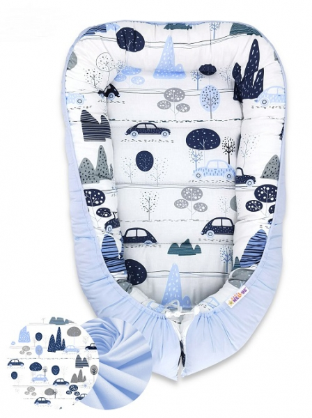 Obojstranné hniezdočko Baby Nellys Velvet, 55x75cm, Autá v aleji - modrý velvet/auta modrá