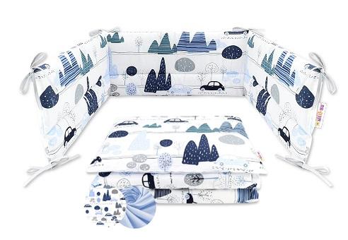 2-dielne bavlnené obliečky Baby Nellys - Auta v aleji, modrá, 120x90 cm