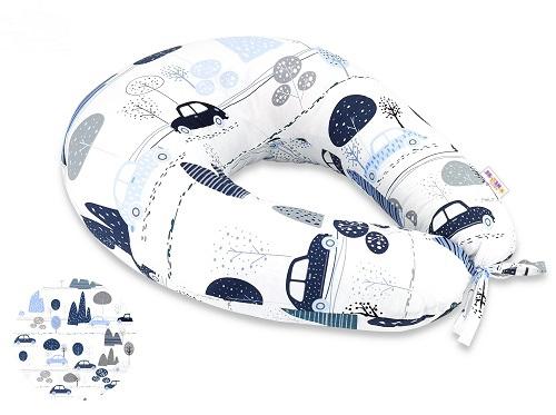 Bavlnený dojčiaci vankúš Baby Nellys, Autá v aleji, modrá