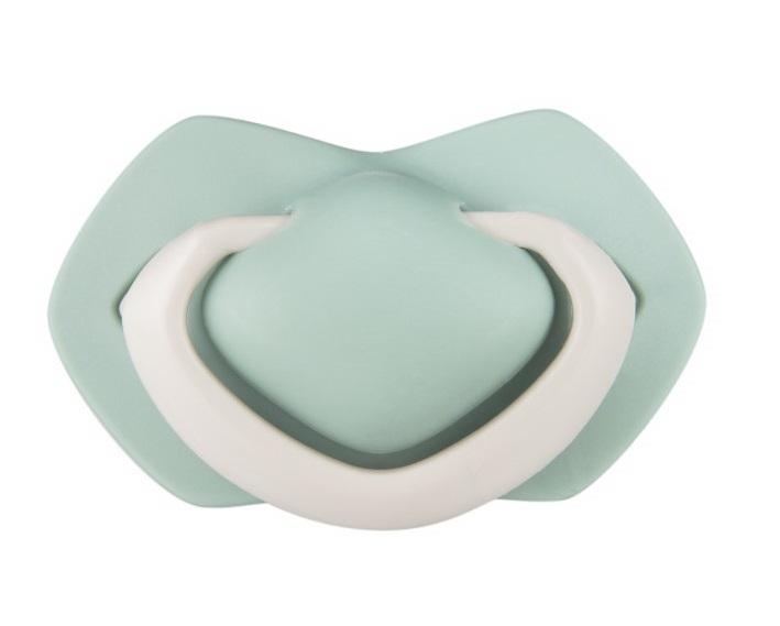 Canpol Babies Sada 2 ks symetrických silikónových cumlíkov, 18m +, PURE COLOR zelený/sivý