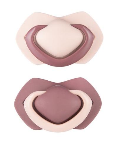 Canpol Babies Sada 2 ks symetrických silik. cumlíkov, 0-6m +, PURE COLOR růžová/bordo