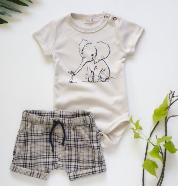 K-Baby 2 dielna detská súprava, body s kraťasky Boy Slon, veĺ. 74  - béžový