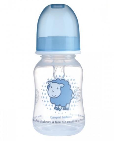 Canpol babies Fľaštička s potlačou 120 ml, Sheep - sv. modrá