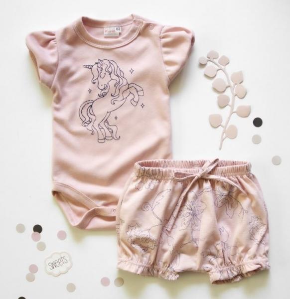K-Baby 2 dielna detská súprava, body s kraťasky Girl Unicorn, veľ. 80 - starorúžová