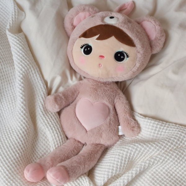 Handrová bábika Metoo Medvedík  - 46 cm - růžová
