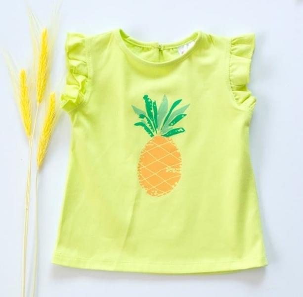 Detské bavlnené tričko, krátky rukáv - Ananás - limetka, veľ. 80