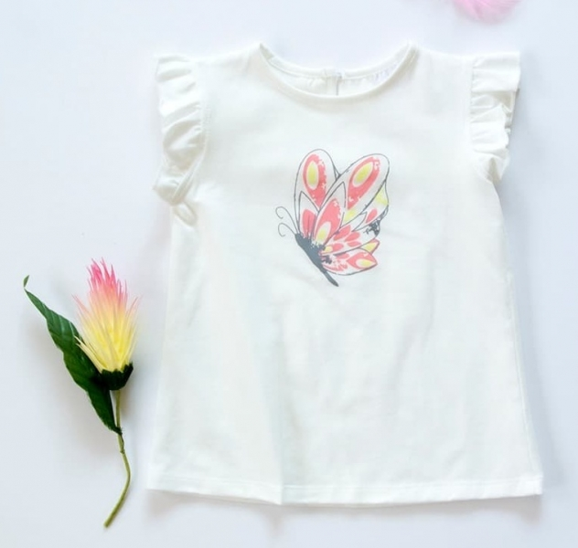 K-Baby Detské bavlnené tričko, krátky rukáv - Motýl - smotanové-#Velikost koj. oblečení;68 (4-6m)