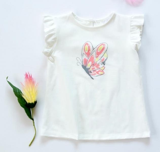 K-Baby Detské bavlnené tričko, krátky rukáv - Motýl - smotanové, veľ. 92
