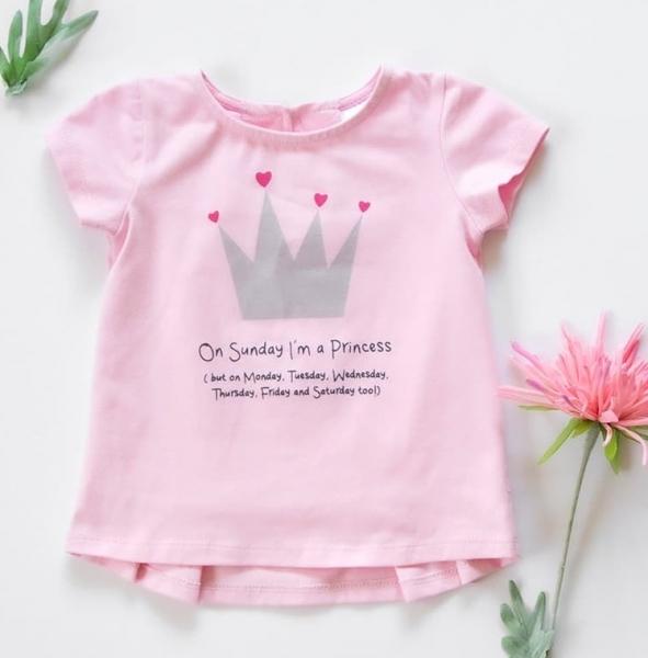 Detské bavlnené tričko, krátky rukáv - Princess - sv. rúžové, veľ. 74