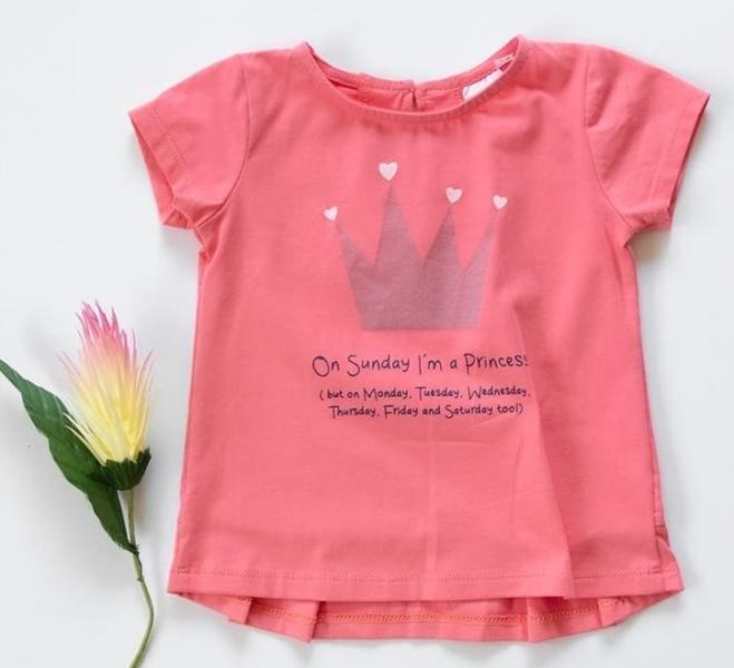 Detské bavlnené tričko, krátky rukáv - Princess - rúžové, korál, veľ. 98
