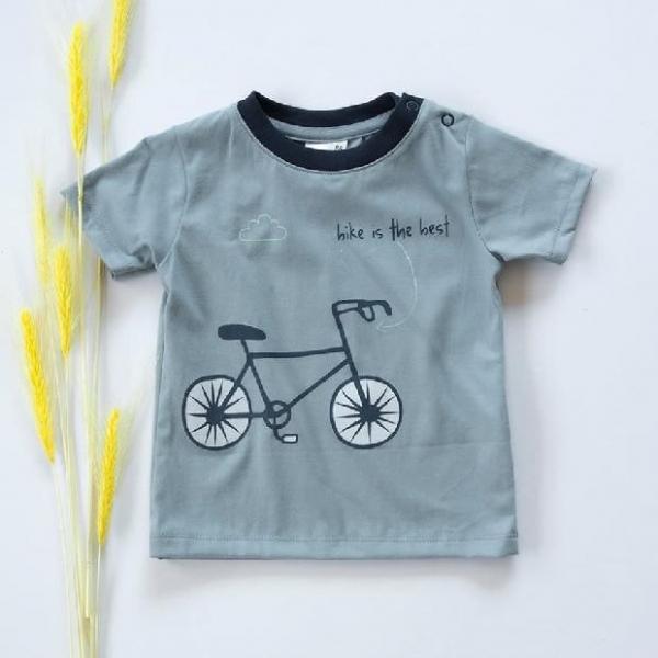 Chlapčenskú bavlnené tričko, krátky rukáv - modro/sivé, Bike is the best, veľ. 98