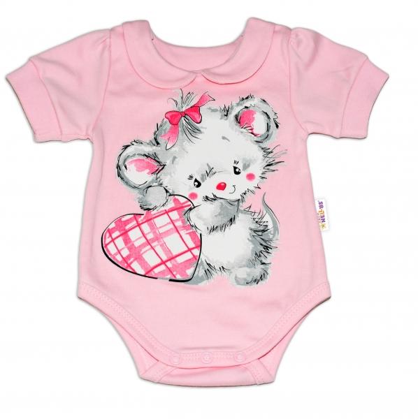 Baby Nellys Bavlnené dojčenské body, kr. rukáv, Mouse Love - růžový, veľ. 86-86 (12-18m)
