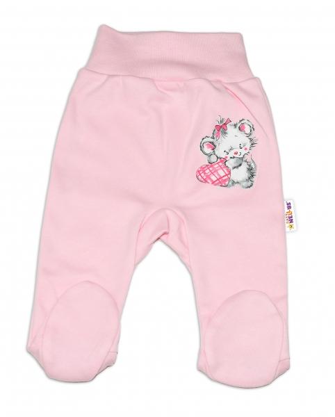 Baby Nellys Bavlnené dojčenské polodupačky, Mouse Love - ružové, veľ. 68-68 (4-6m)