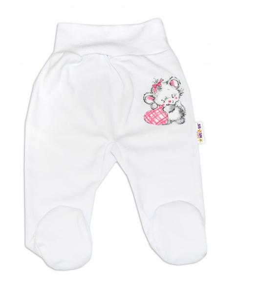 Baby Nellys Bavlnené dojčenské polodupačky, Little Mouse Love - biela