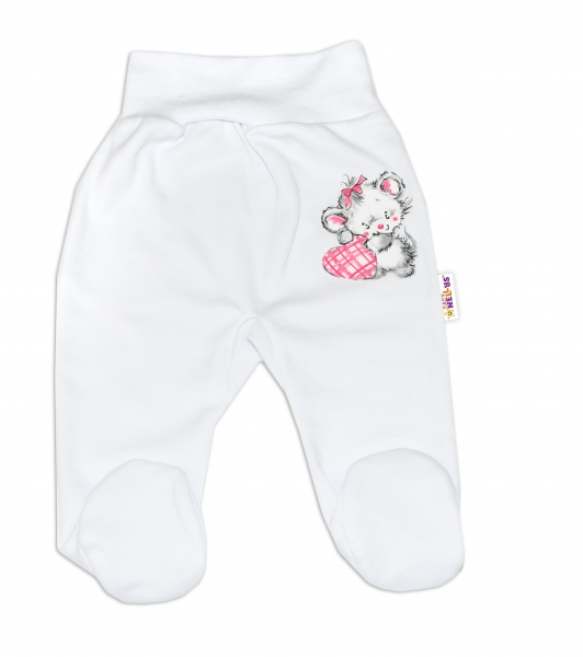 Baby Nellys Bavlnené dojčenské polodupačky, Little Mouse Love - biela, veľ. 68-68 (4-6m)